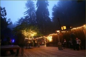 The deck of the Henry Miller Library, Big Sur.  Dusk.